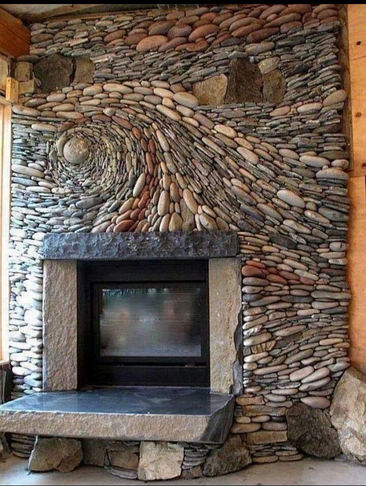 river rock electric fireplace