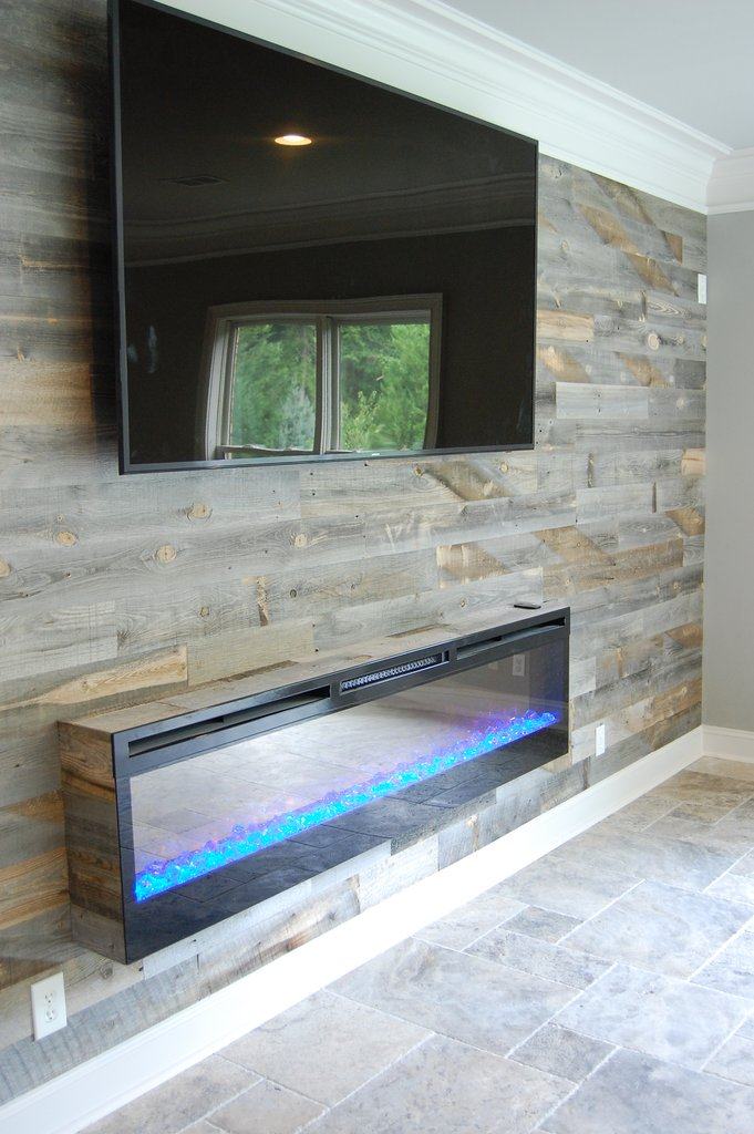 wood plank fireplace wall around electric flat panel fireplace 1024x1024