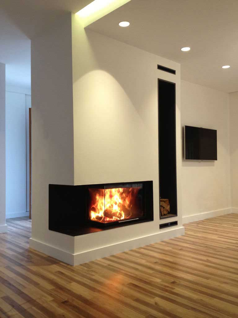 Contemporary Corner Gas Fireplace Wall Mounted Ideas