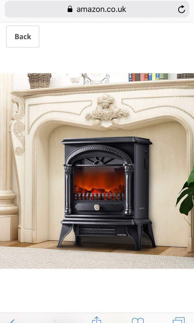 leisure zone portable electric fireplace stove freestanding fireplace heating stove indoor heater with log burner flame 1850w black