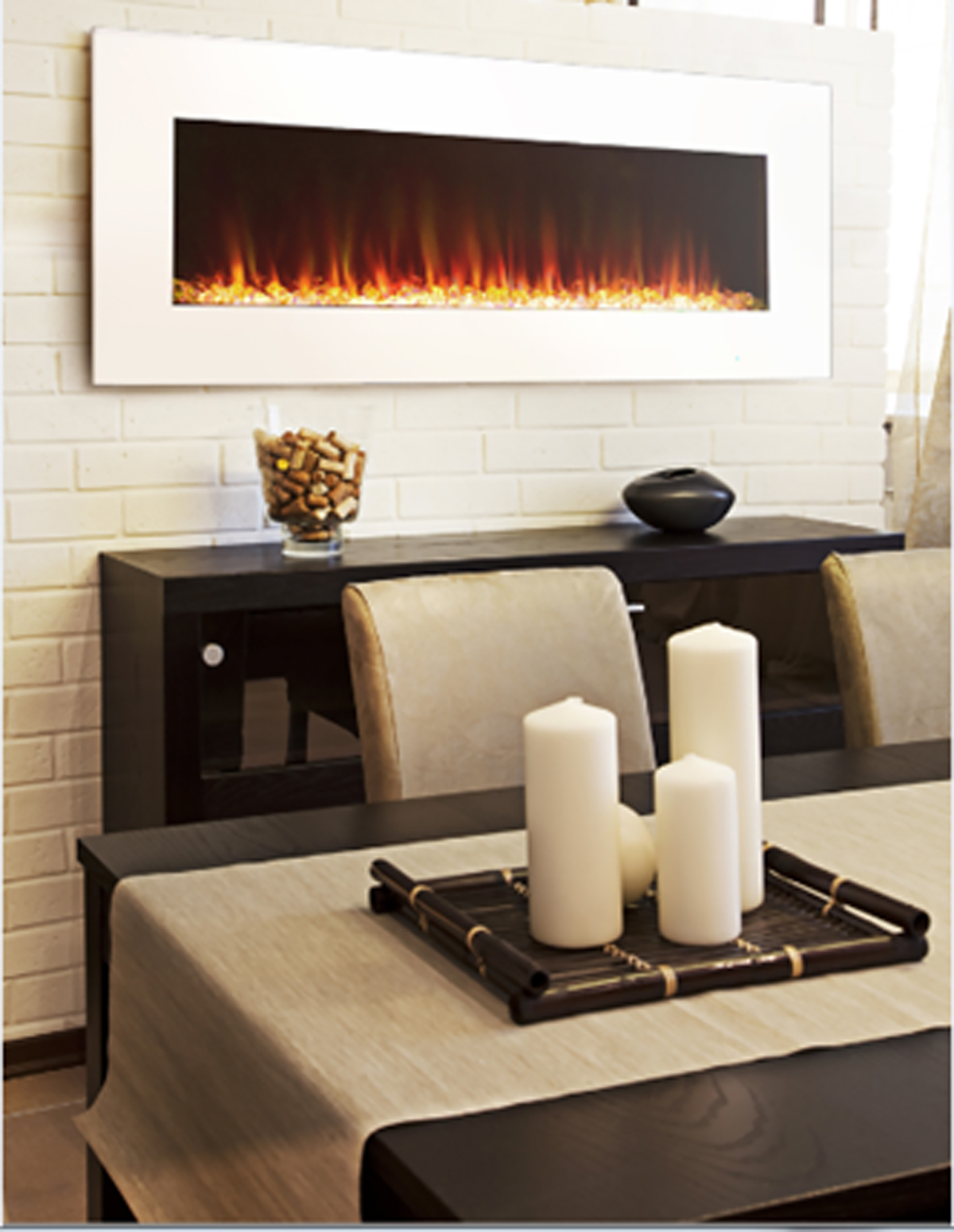 paramount 20 in x 50 in white wall mount electric fireplace