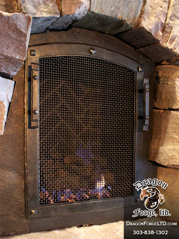 Great Northern Lodge modern rustic fireplace doors