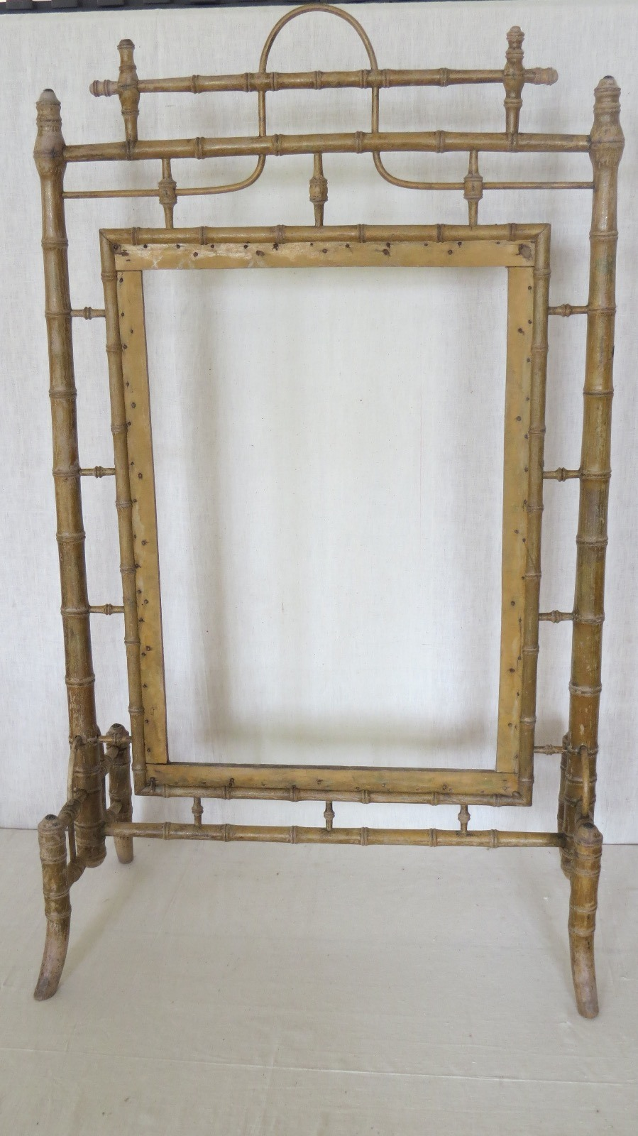 french faux bamboo fire screen c1900