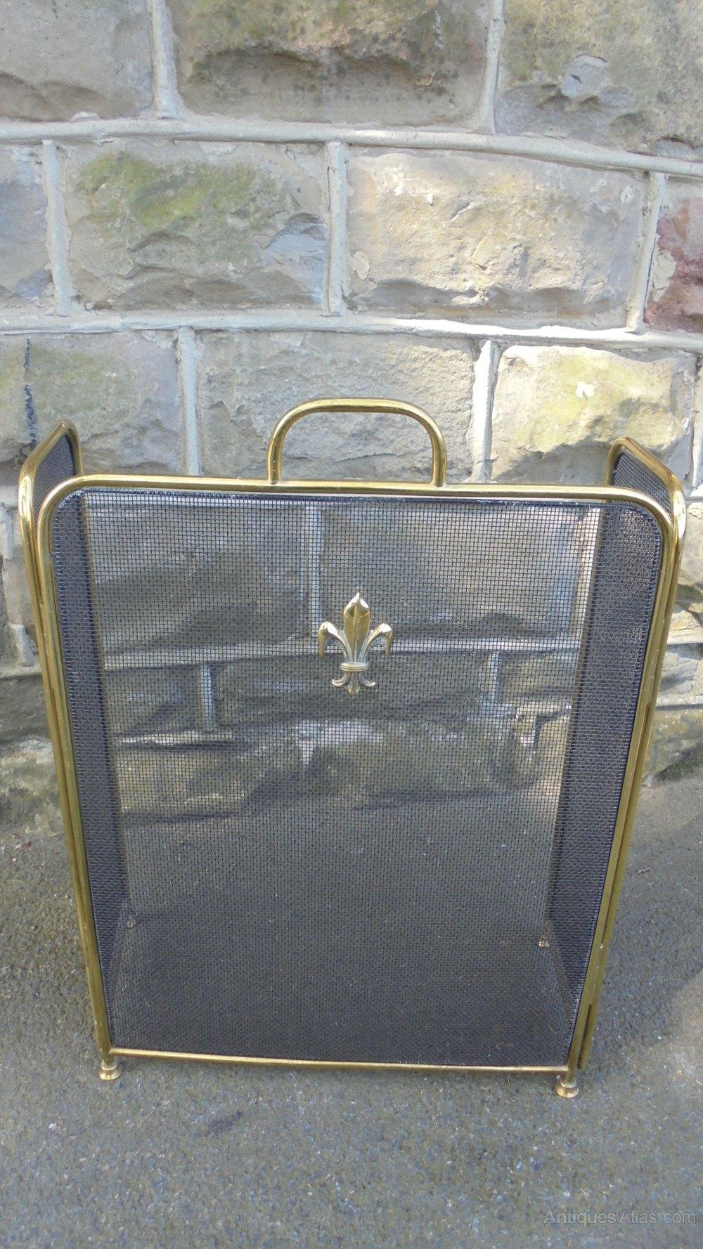 Antiqued Brass Fireplace Screen Elegant Antique Brass Folding Fire Screen Guard
