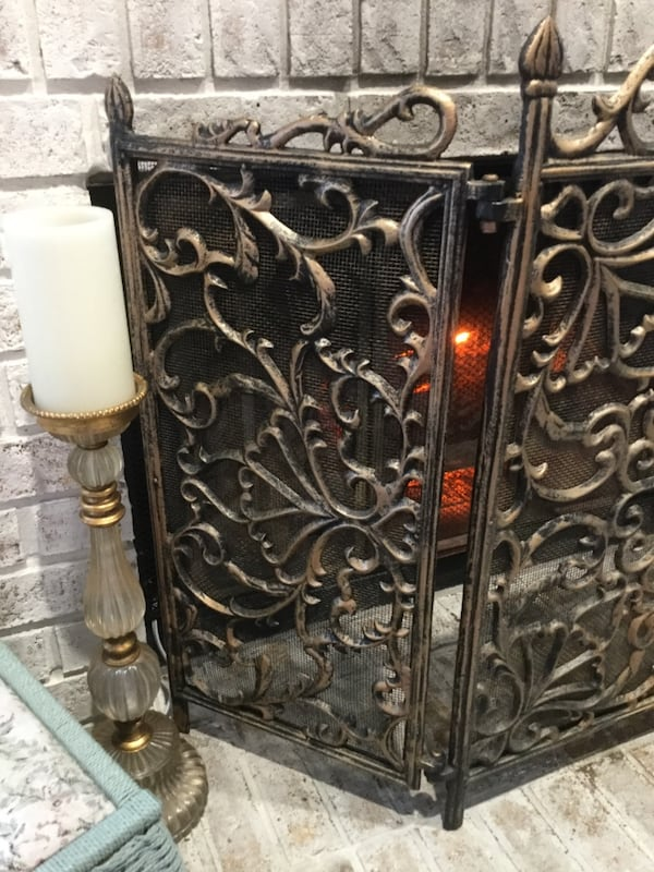 iron fireplace screen in a antiqued gold brass finish very ornate 695cf92a 7815 498b b61b dadf1db509f4