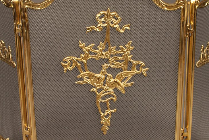 Antiqued Brass Fireplace Screen Luxury solid Brass Folding Fireplace Screen