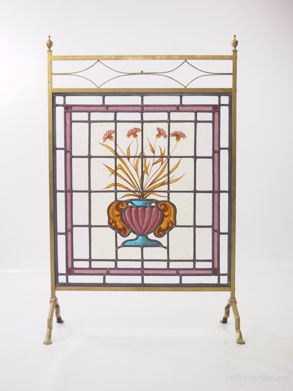 Antiqued Brass Fireplace Screen New Antiques atlas Edwardian Stained Glass Fire Screen