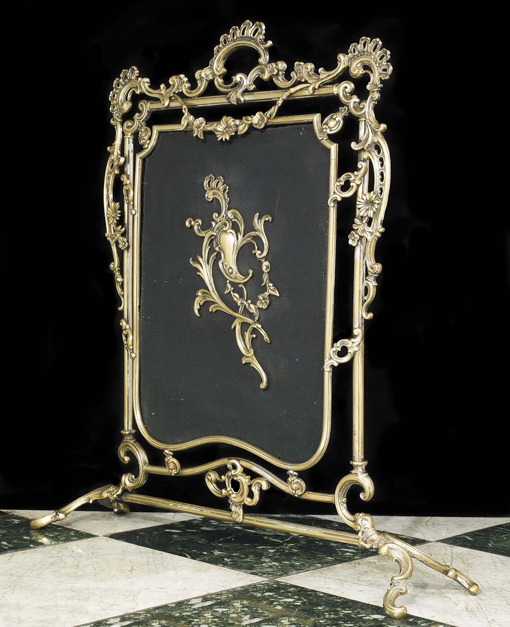 Antiqued Brass Fireplace Screen New Firegrates Rococo Firescreens