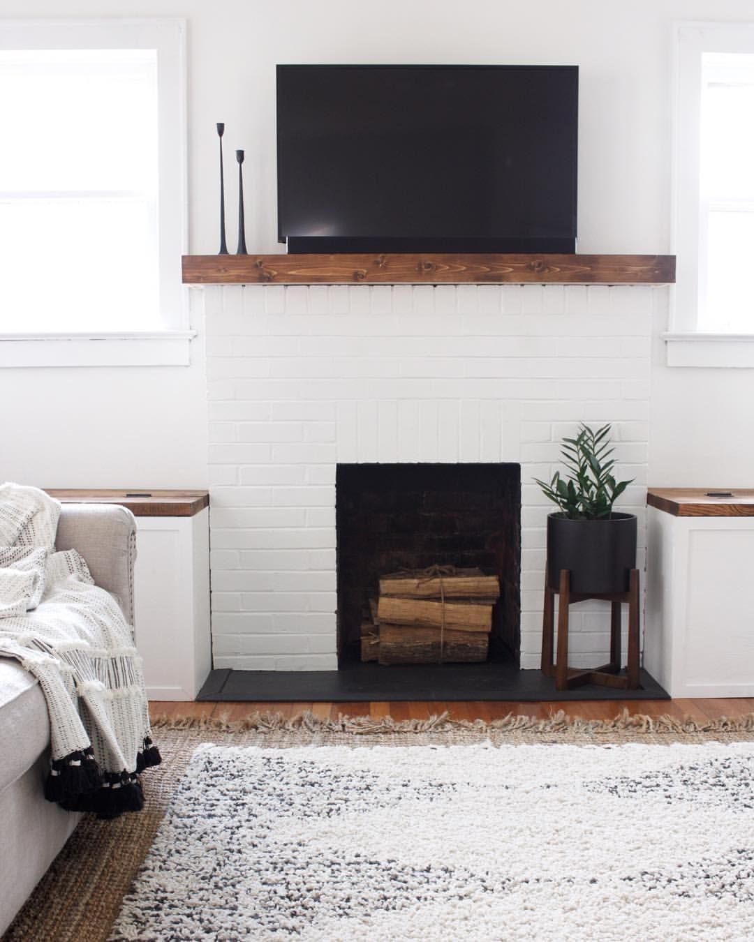 Fireplace Benches Beautiful Modern Minimalist Farmhouse Inspired Living Room Fireplace