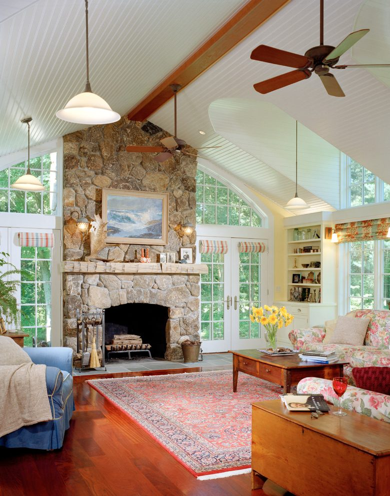 Fireplace Benches Lovely Beach House Fireplace Living Room Traditional with Skylight
