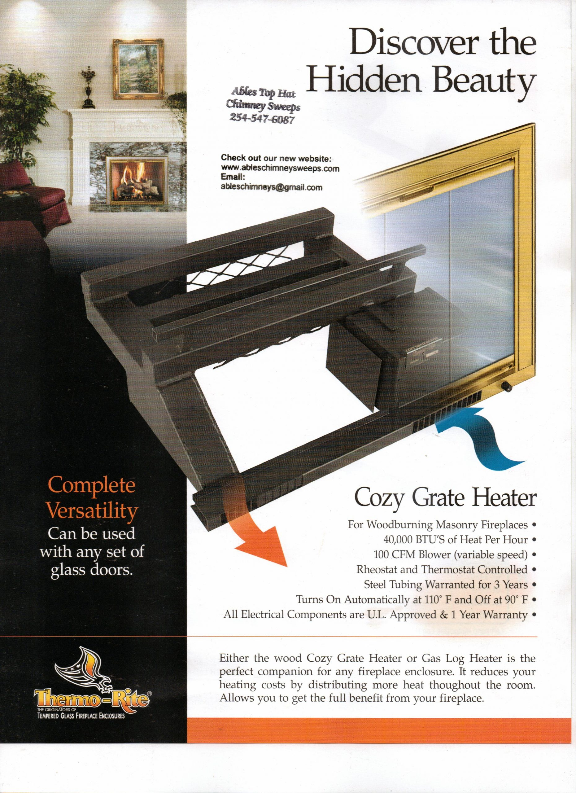 Fireplace Grate with Blower New thermograte Ables top Hat Chimney Sweeps