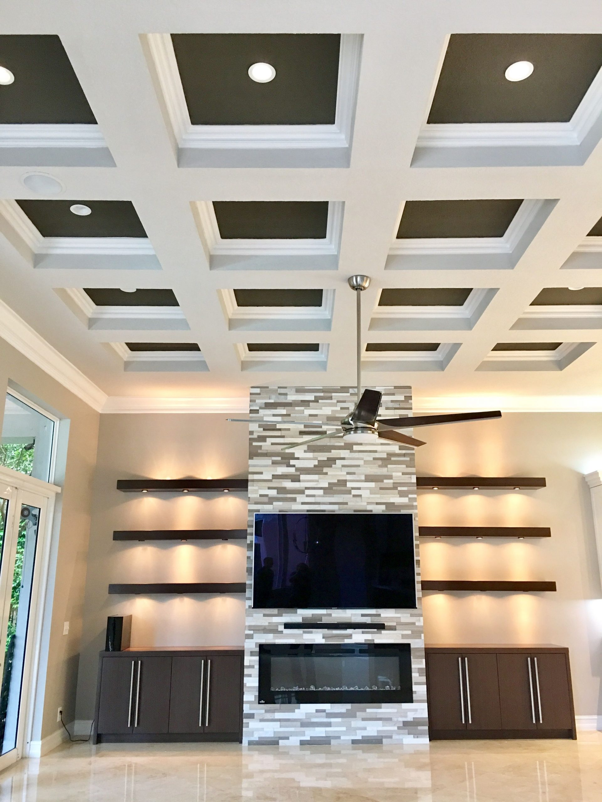 Fireplace Wall Unit Awesome E Of Favorite Designs yet Two tone Coffered Ceilings