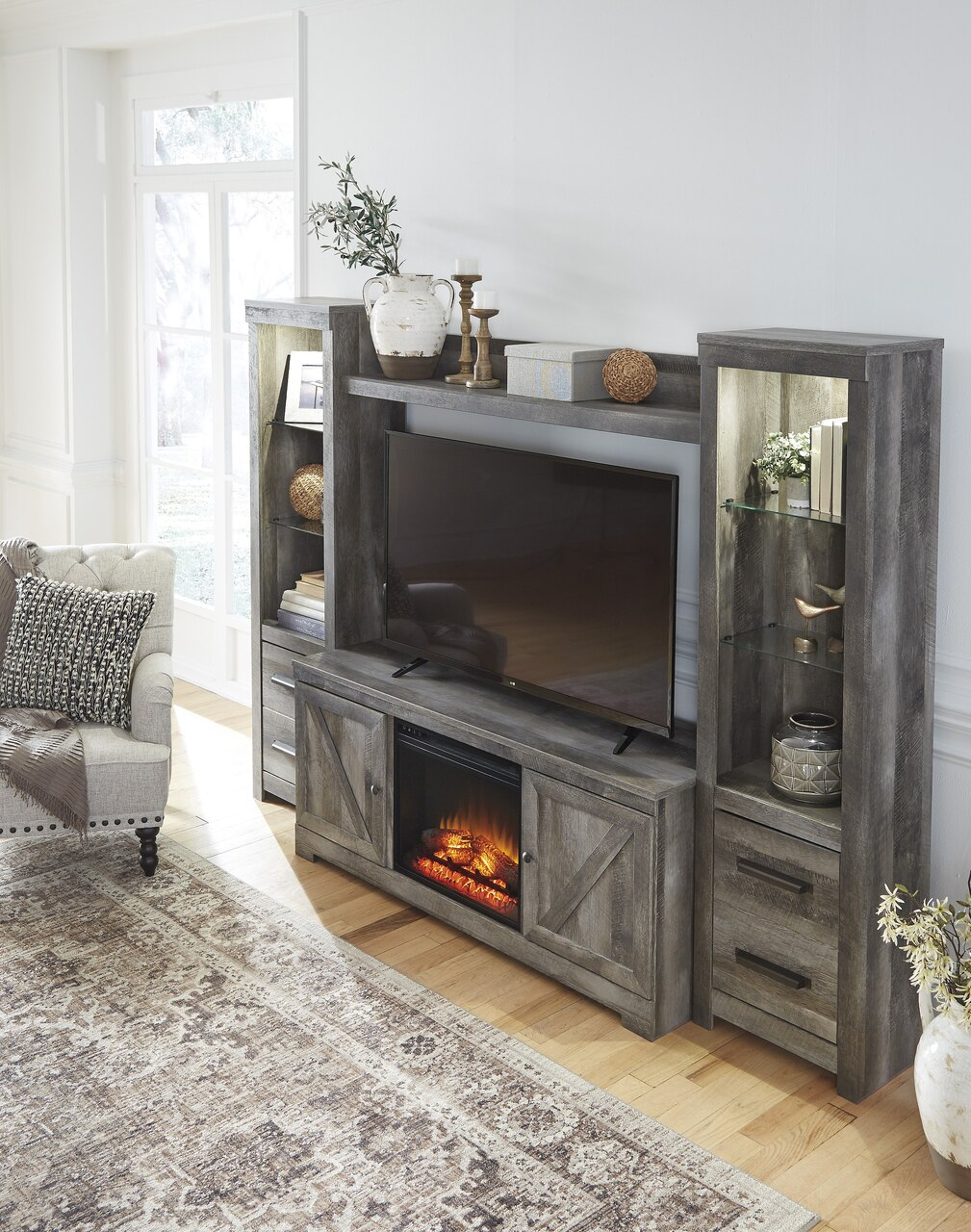Fireplace Wall Unit Elegant Dextre 4 Piece Wall Unit with Fireplace