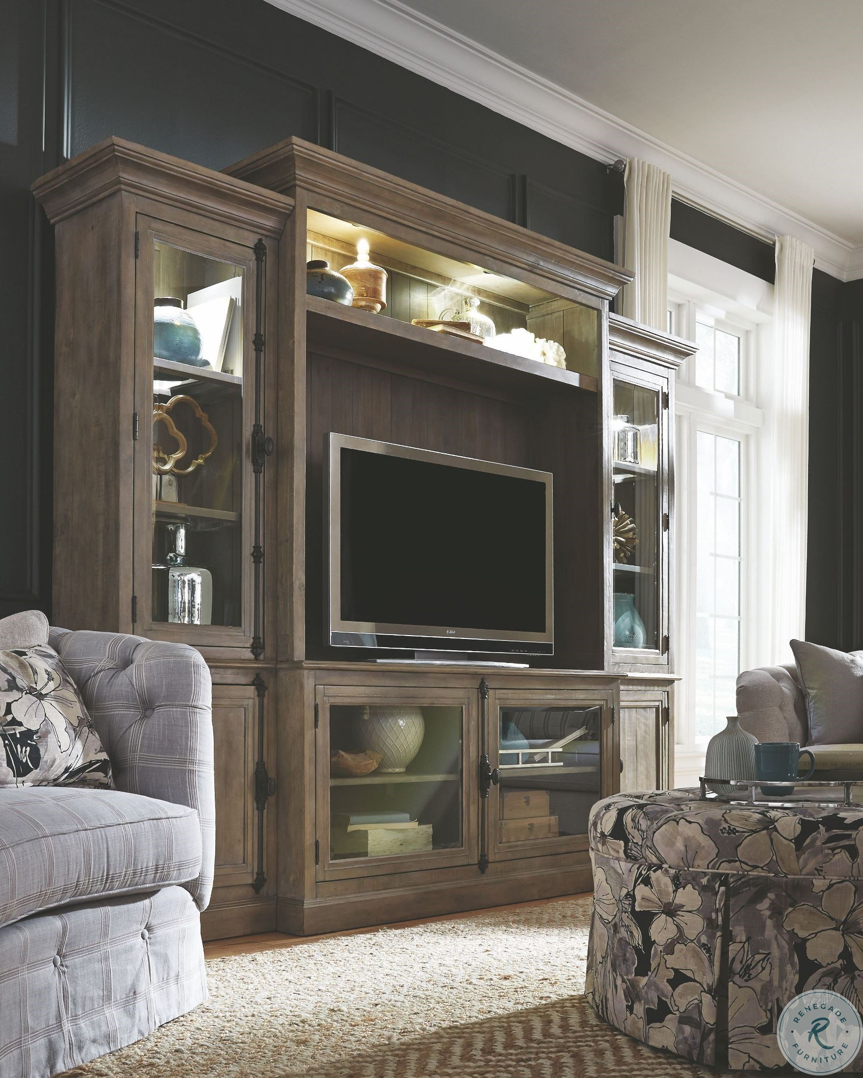 Fireplace Wall Unit New Trinell Brown 4 Piece Entertainment Center with Electric