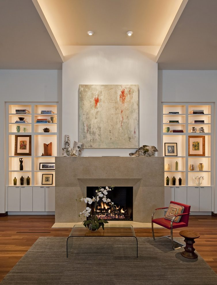Fireplace Wall Unit Unique Austin Tray Lighting Living Room Contemporary with Chimney