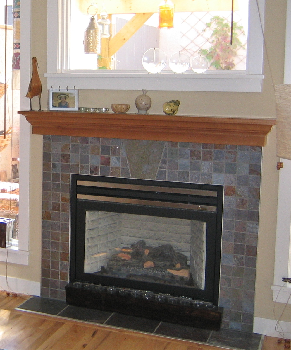 slate tiles for fireplace surround