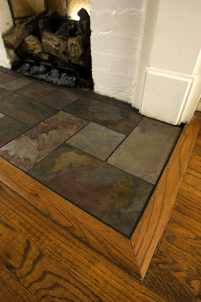 Slate Tiles for Fireplace Elegant Slate Fireplace Hearth Family Room Traditional with Tile