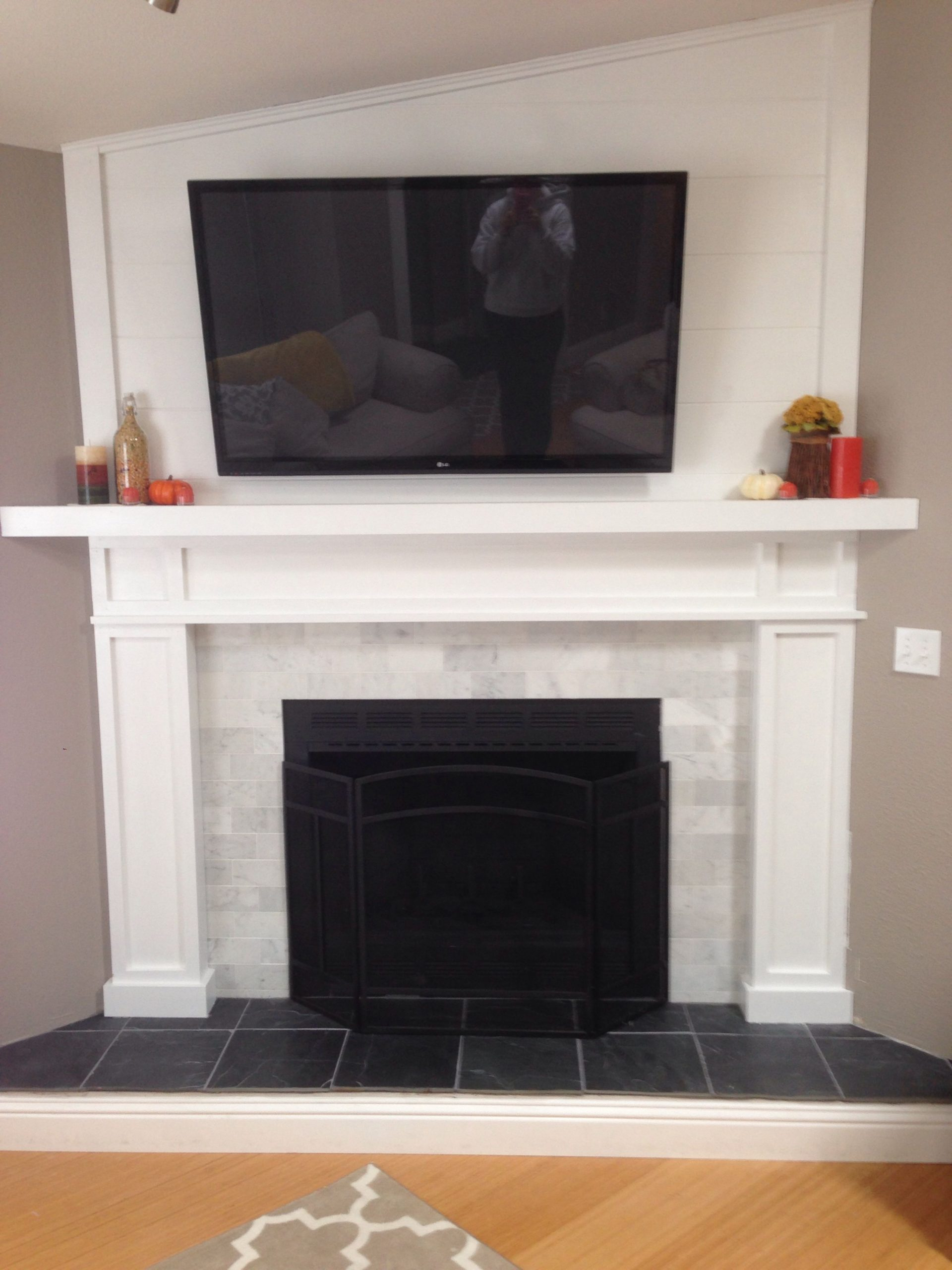 Slate Tiles for Fireplace Unique Fireplace with Black Slate Hearth and Marble Subway Tiles