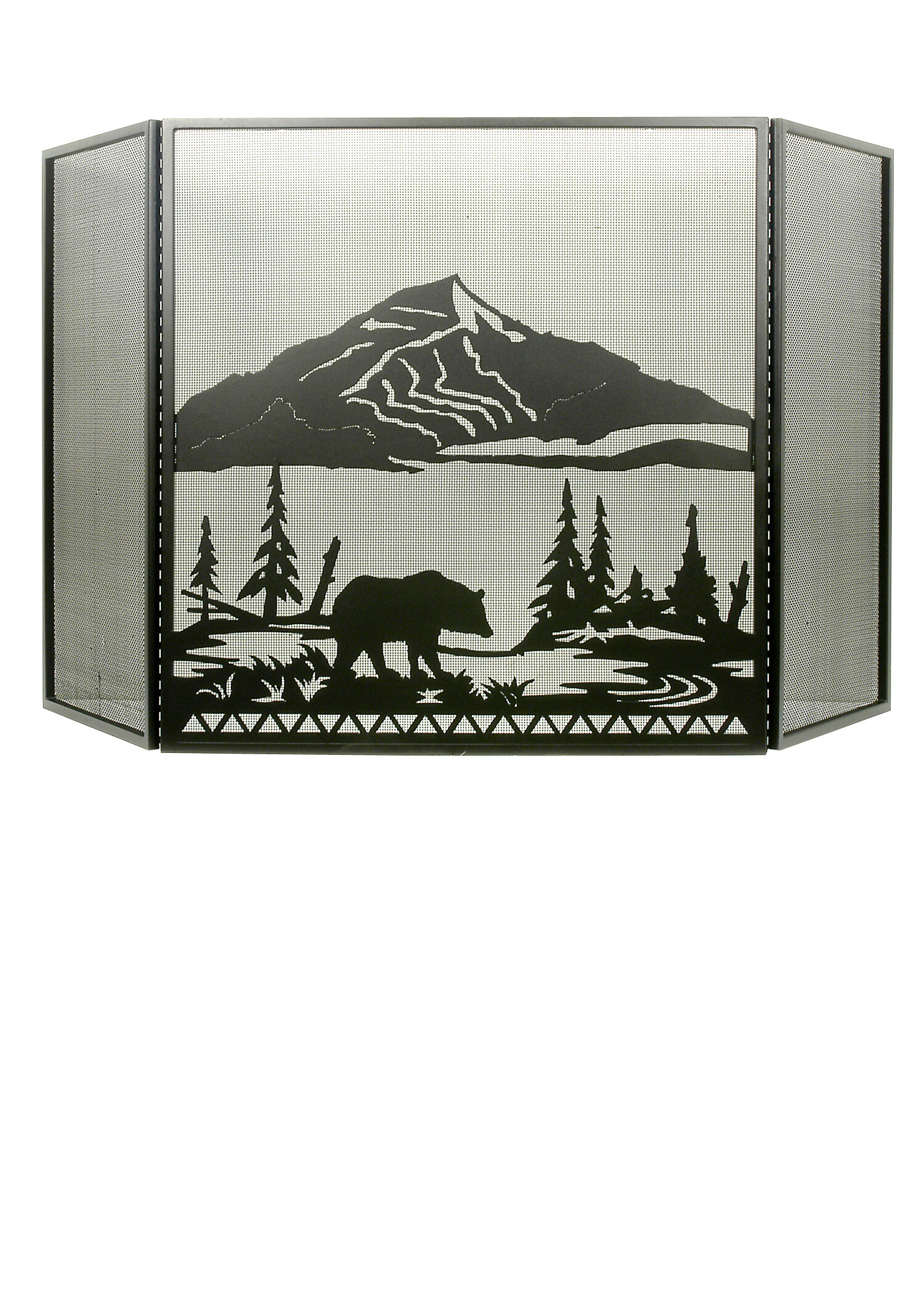 meyda tiffany bear creek 3 panel fireplace screen mey5954
