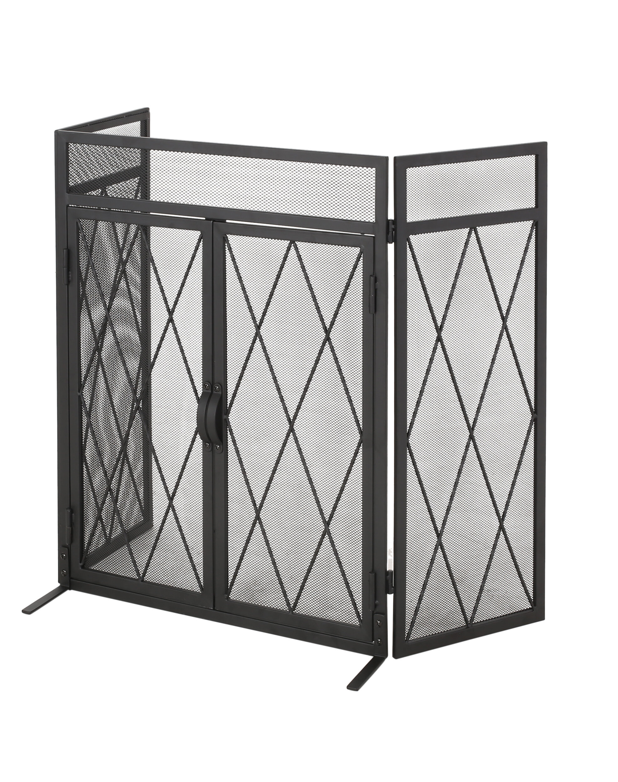 home loft concepts blyfield 3 panel bifold iron fireplace screen fomf2172